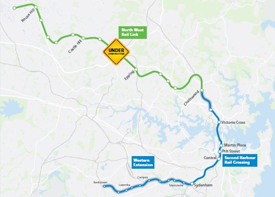 """Proposed route for the metro when completed (from Transport for NSW """"An overview: Epping to Chatswood Railway"""""""