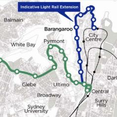 Proposal in 2010 for a light rail extension to Barangaroo (from Sydney Architecture Archive)