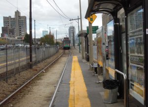 Boston Green Line station in a street reservation