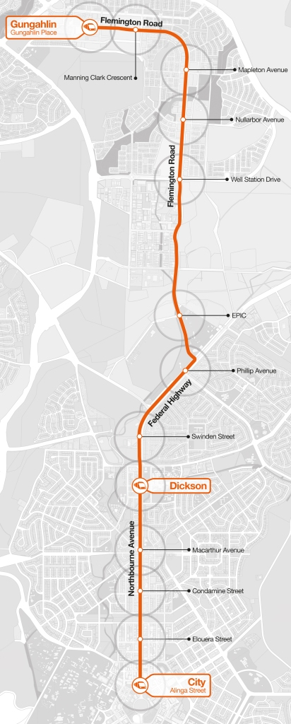 Canberra proposed Capital Metro Light Rail Line map