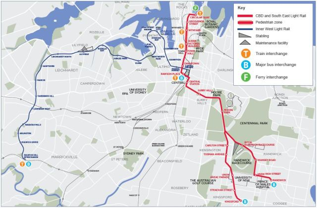 Sydney Light Rail (Dulwich Hill Line and proposed CESLR Line)