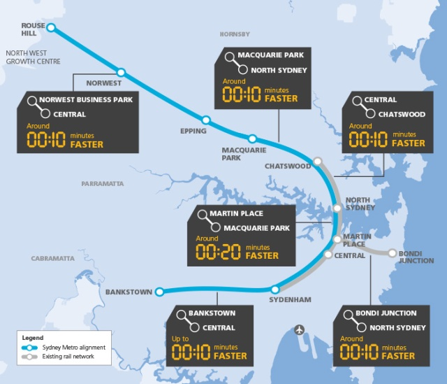 Schematic map Sydney Metro route and time savings