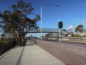 "Bullaburra's ""bridge to nowhere"". This new bridge over the widened highway has ramps, but none were provided to access the station to the left of the photo or to cross the railway line."