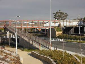 Hazelbrook station has a new pedestrian bridge providing disabled access over the highway and railway, but none to the station.