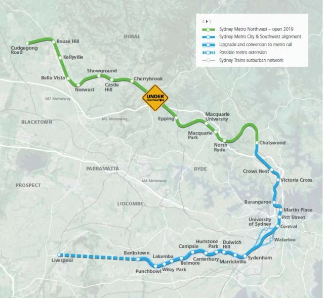 Sydney Metro Proposed Alignment (from Transport for NSW, 2015. Sydney Metro City and Southwest Project Update)