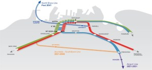 Auckland city rail link with future lines (source: Auckland Transport)