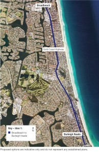 Gold Coast Light Rail southern extension option 1 (source: City of Gold Coast)