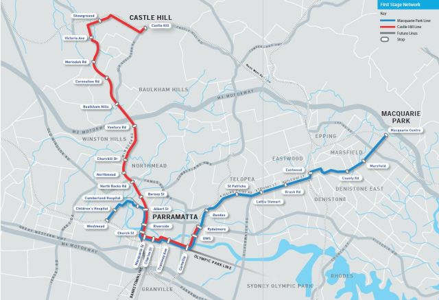 Parramatta City Council preferred light rail options as identified in the feasibility study (Source Parramatta City Council Feasibility Report volume 2)