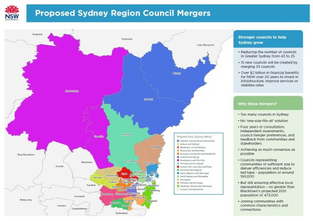 Sydney Metropolitan Area: proposed council mergers