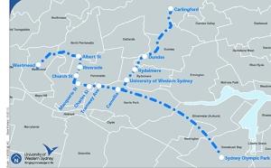 Western Sydney Light Rail proposed corridors (source: Western Sydney University)