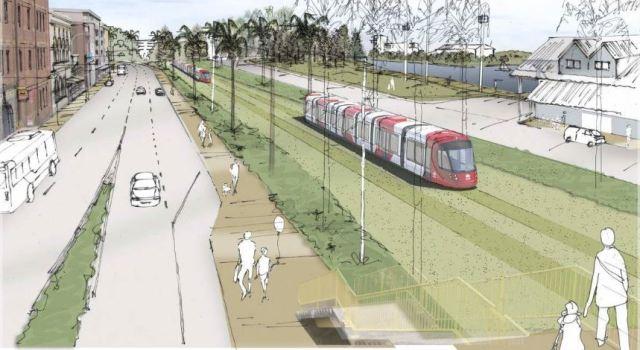Artist impression of Newcastle light rail