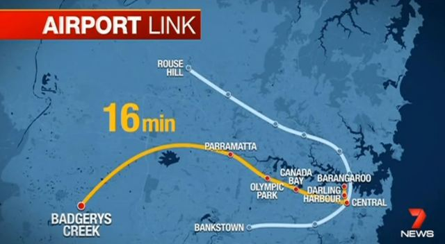 The proposed Sydney to Badgerys Creek Metro (source: Ch. 7/Yahoo - note 16 min travel time is for Sydney to Parramatta)