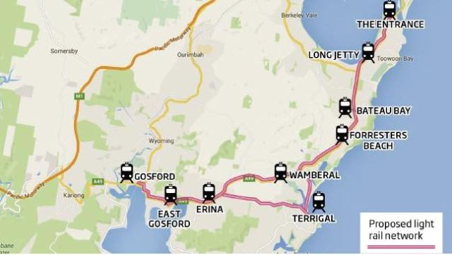 Wyong Mayor Doug Eaton 's Central Coast light rail plan (source News Ltd)