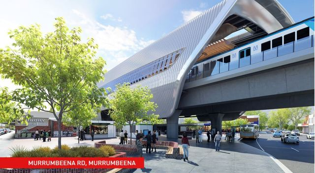 Artist's impression of a station on the elevated Pakenham Line