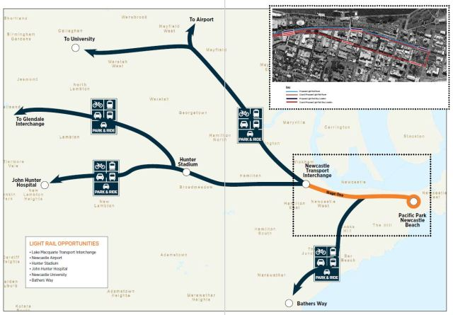 Newcastle light rail opportunities (source: Newcastle Council)