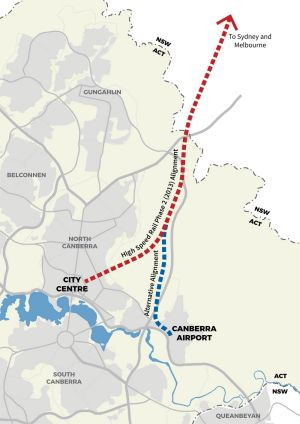 Alternative route options for ACT terminus for proposed Sydney-Canberra HSR (source: Fairfax media)