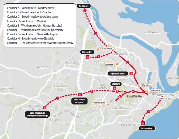 Newcastle Light Rail proposed initial and longer term extensions (source: NSW government Revitalising Newcasle website)