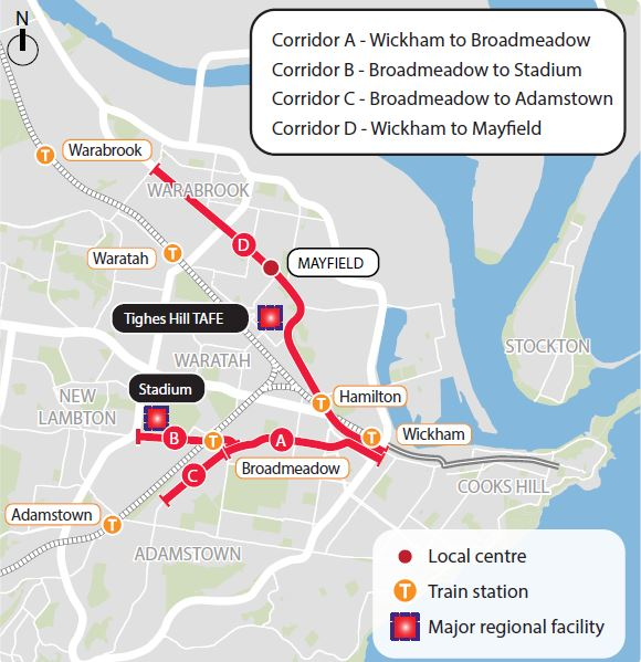 Newcastle Light Rail proposed initial extensions (source: NSW government/Revitalising Newcastle website)