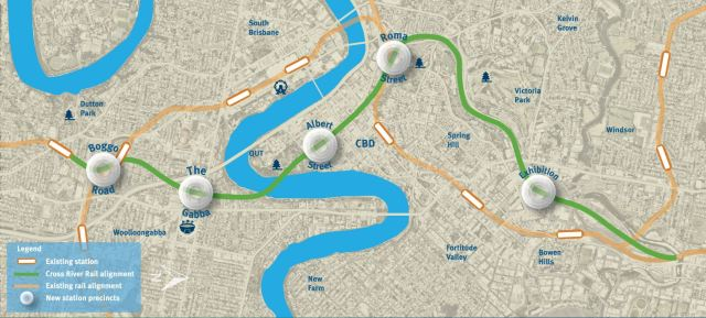 Proposed route for Brisbane Cross River Rail project (source: Queensland Government Cross River Rail website)