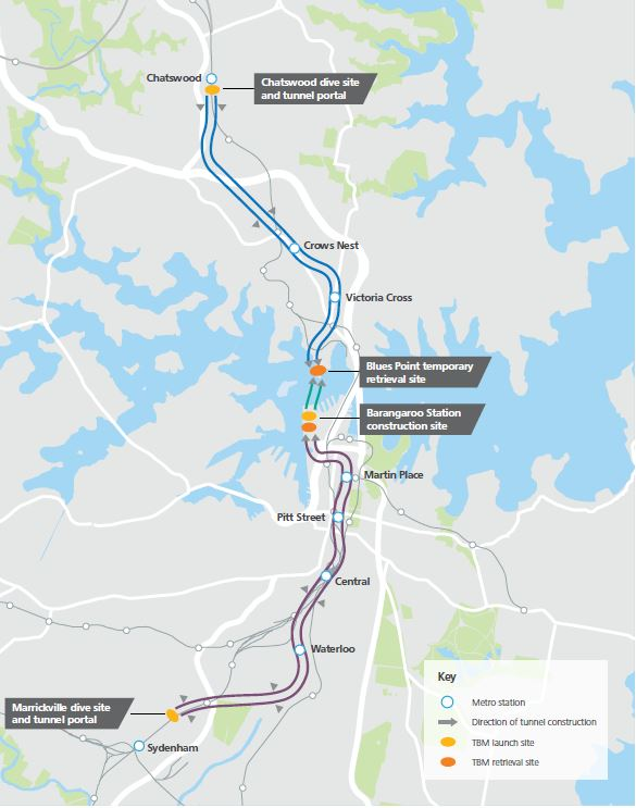 Sydney Metro: Chatswood to Sydenham section. Source NSW Government