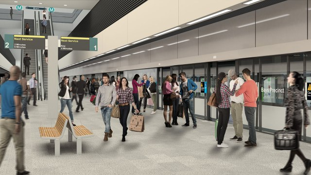 Artist's impression of Bays Precinct metro station. Source: transport for NSW