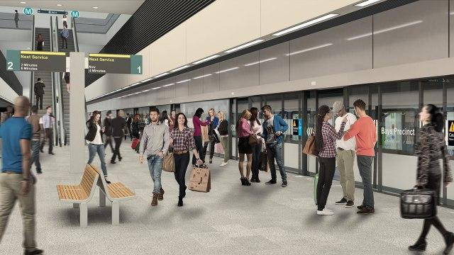 Artist's impression of Bays Precinct metro station. Source: transport for NSW