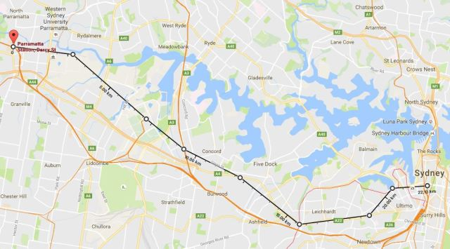 Possible route for the Sydney Metro West. Underlying map source: Google Maps 2016
