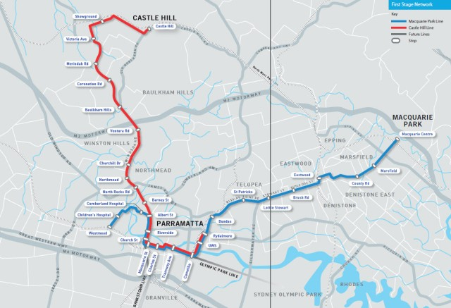 Parramatta City Council's 2013 preferred light rail route options (source: Parramatta City Council)