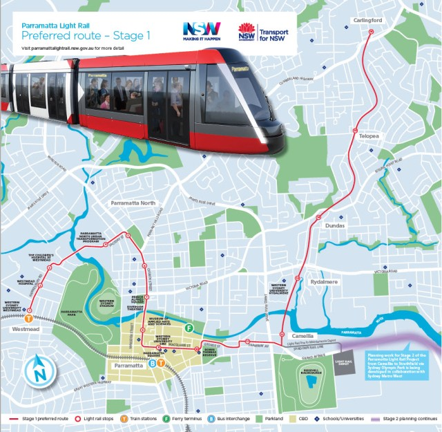 Parramatta Light Rail Stage 1 preferred route (source: NSW Government PRL website)