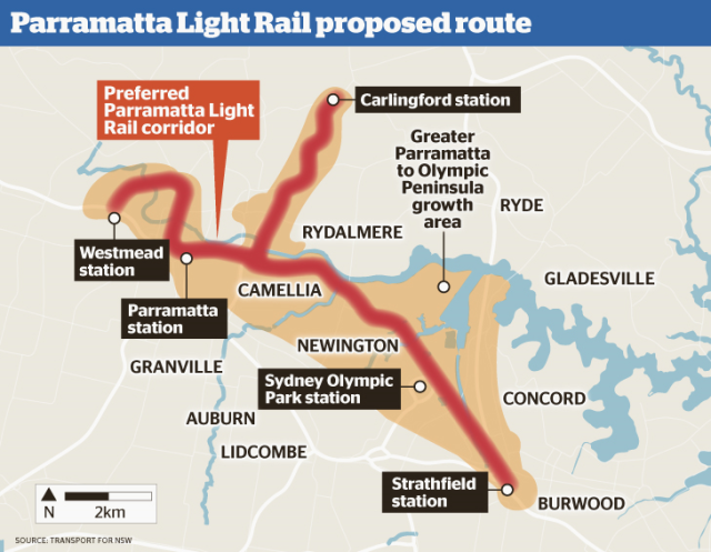State Government's 2015 indicative corridors for Parramatta Light Rail (source: NSW Government)