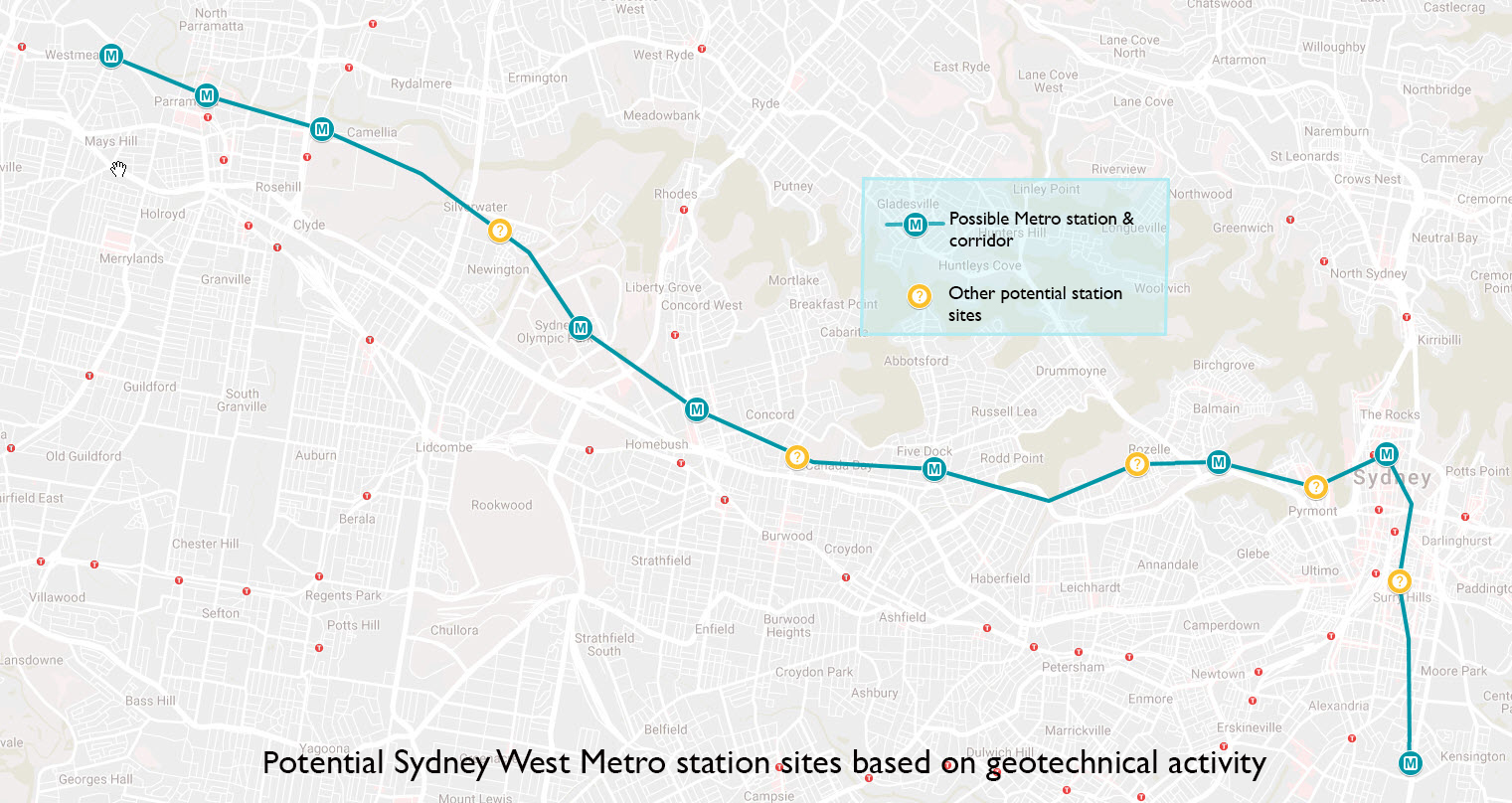 Rask Sydney Metro West geotech digging reveals potential stations PV-55